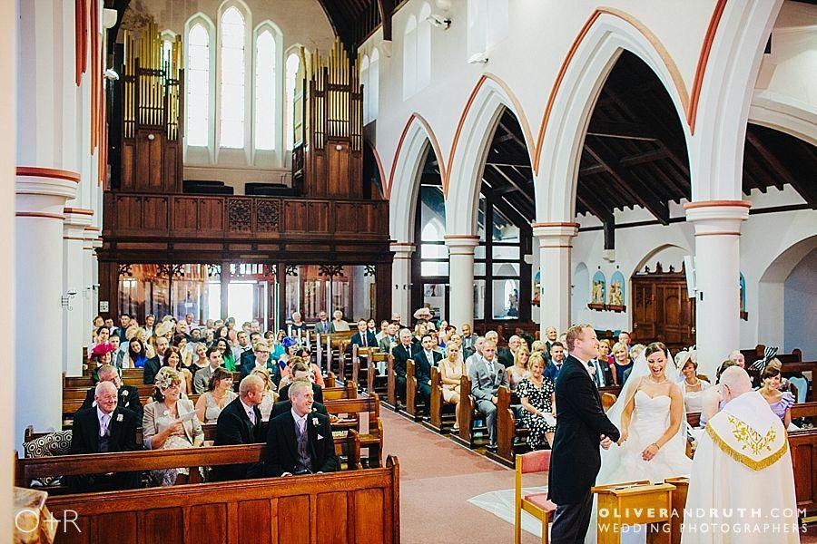 Bride & groom in St Marys church, Merthyr Tydfil