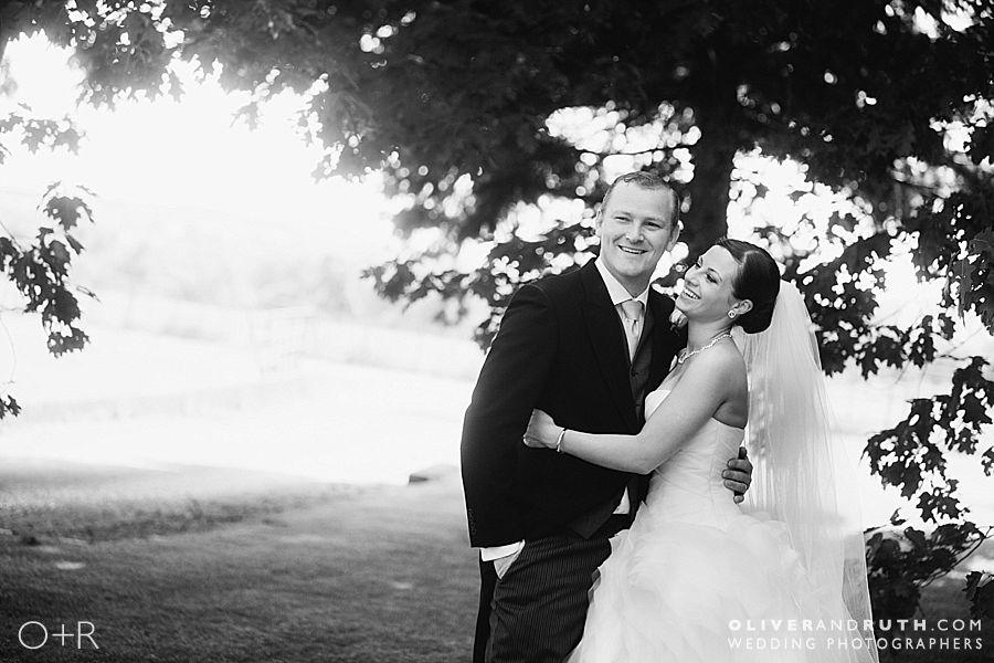 Bride and groom at Llansantffraed Court