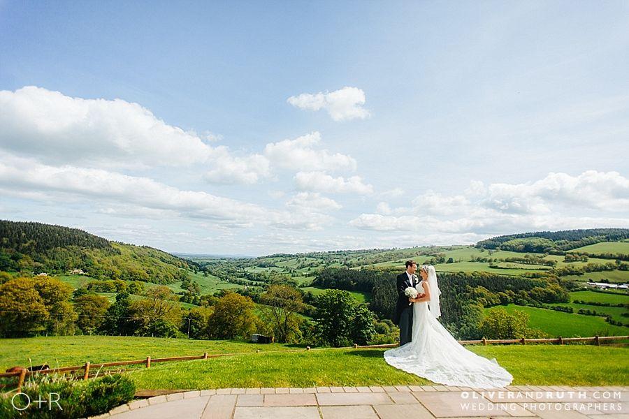 Bride and groom in Llangollen, North Wales