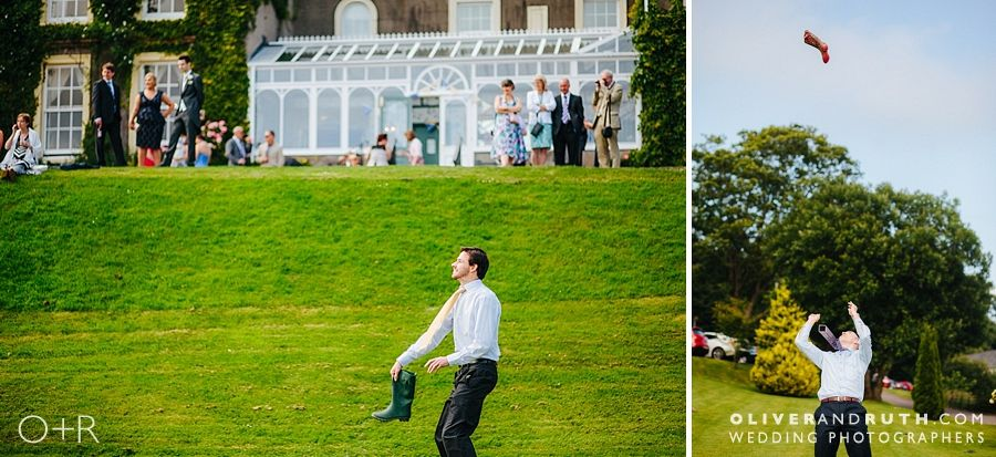 Wellie wanging at The New House Country Hotel Wedding