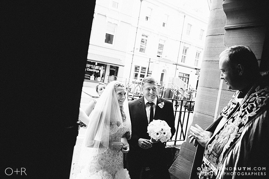 Bride arriving at Cardiff Metropolitan Cathedral of St. David