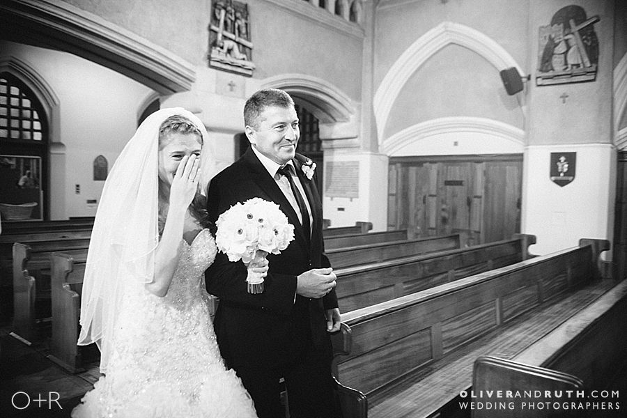 Bride's entrance into Cardiff Metropolitan Cathedral of St. David