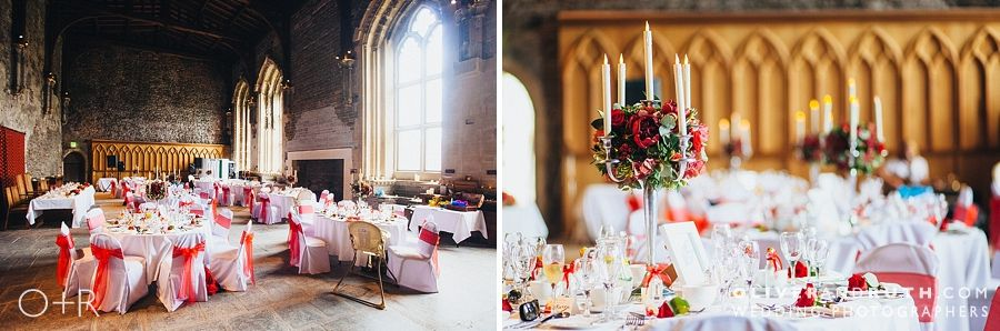 Wedding breakfast room at Caerphilly Castle