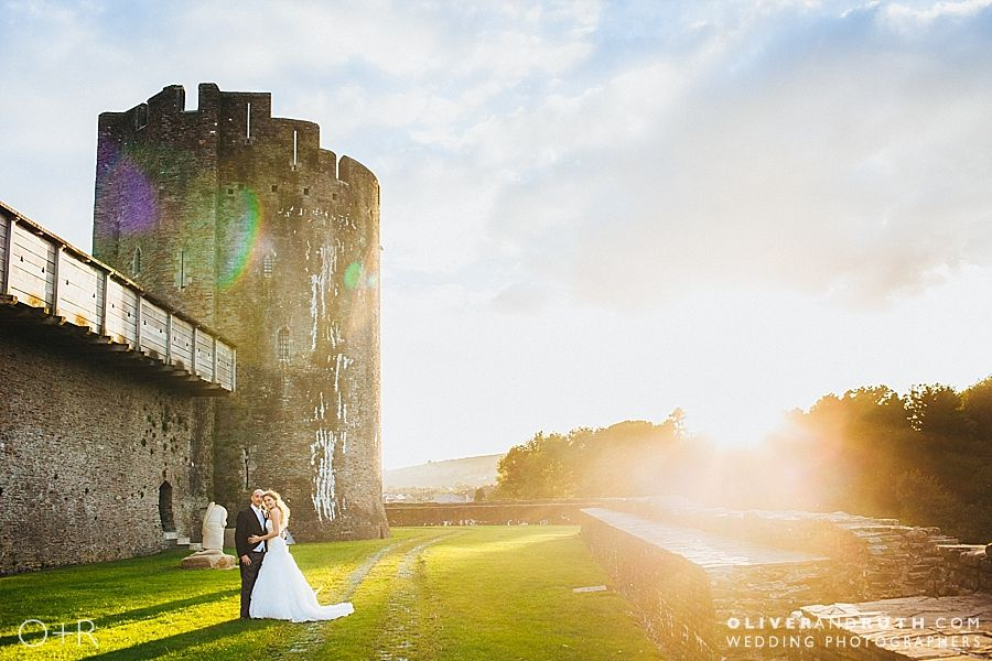 Sunset on wedding day at Caerphilly Castle