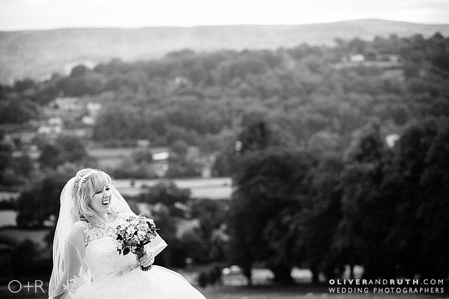 Bride with view from The Manor Hotel