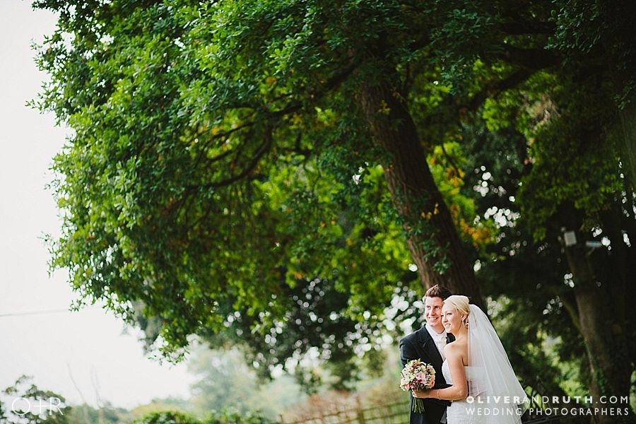 Bride and groom at Miskin Manor