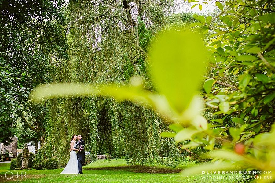 Wedding photo in the grounds of Pencoed House
