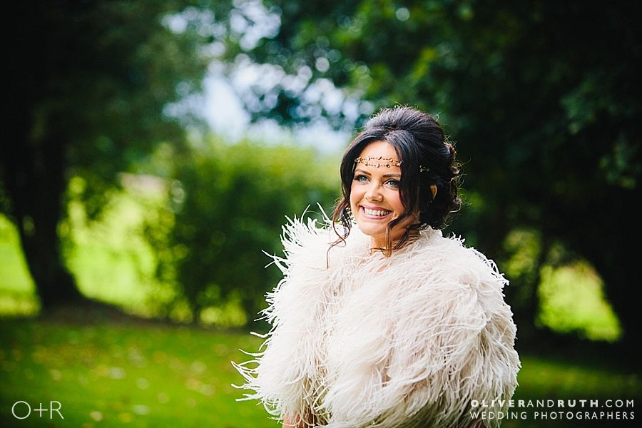 Natural bride portrait at Llansantffraed Court wedding