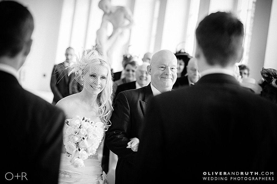 Bride arrives at Margam Orangery