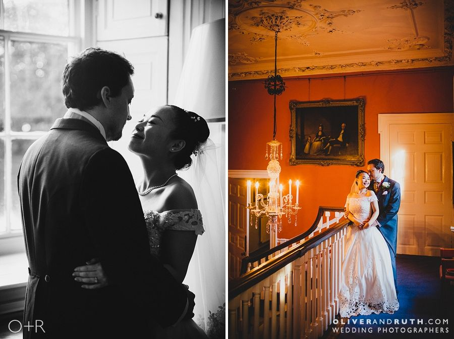 Bride and groom on the staircase at Fonmon Castle