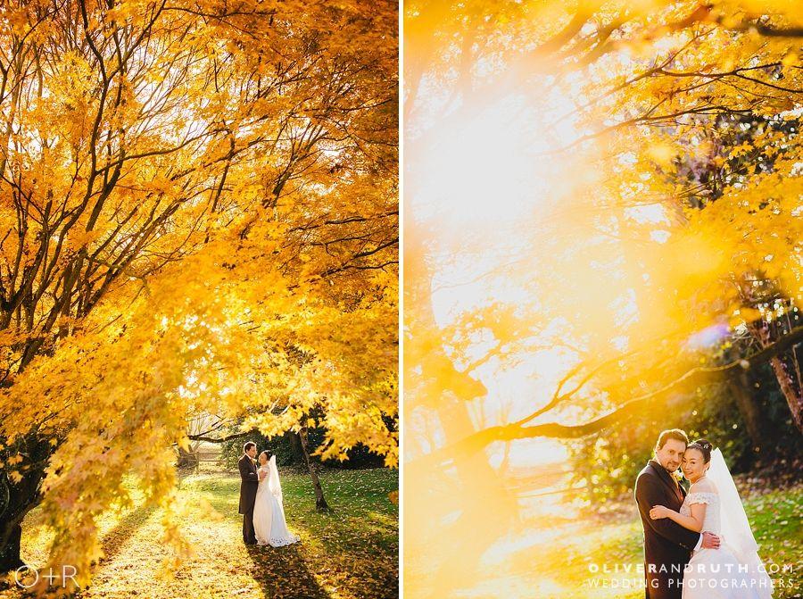 Beautiful autumn leaves at a Fonmon Castle wedding