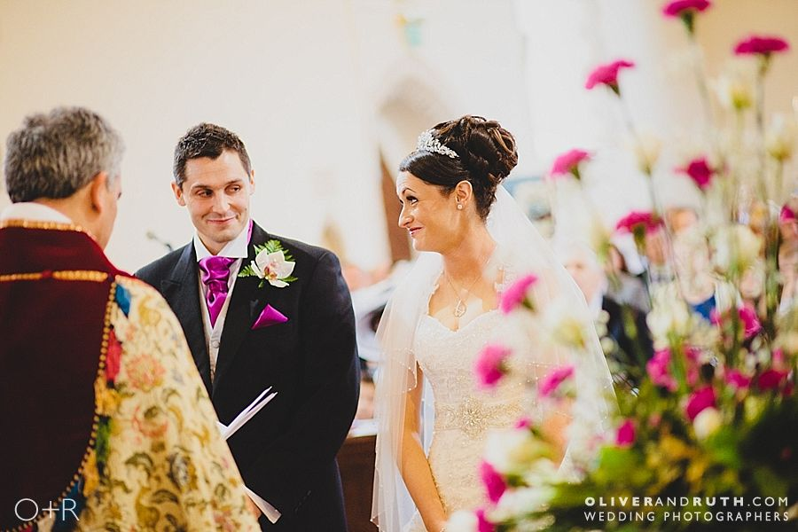 Bride and groom first look at Coity church