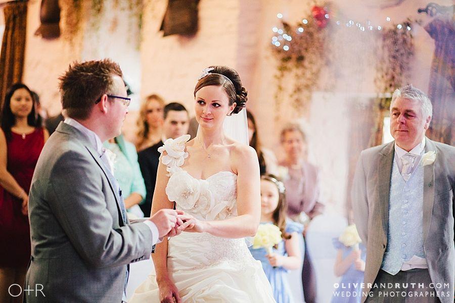 Ring exchange at Miskin Manor civil ceremony