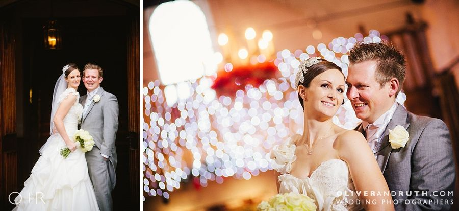 Wedding photo with fairly lights at Miskin Manor