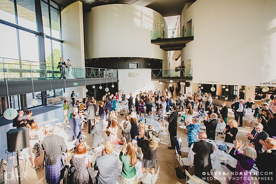 Bride and groom's entrance at The Royal Welsh College of Music and Drama