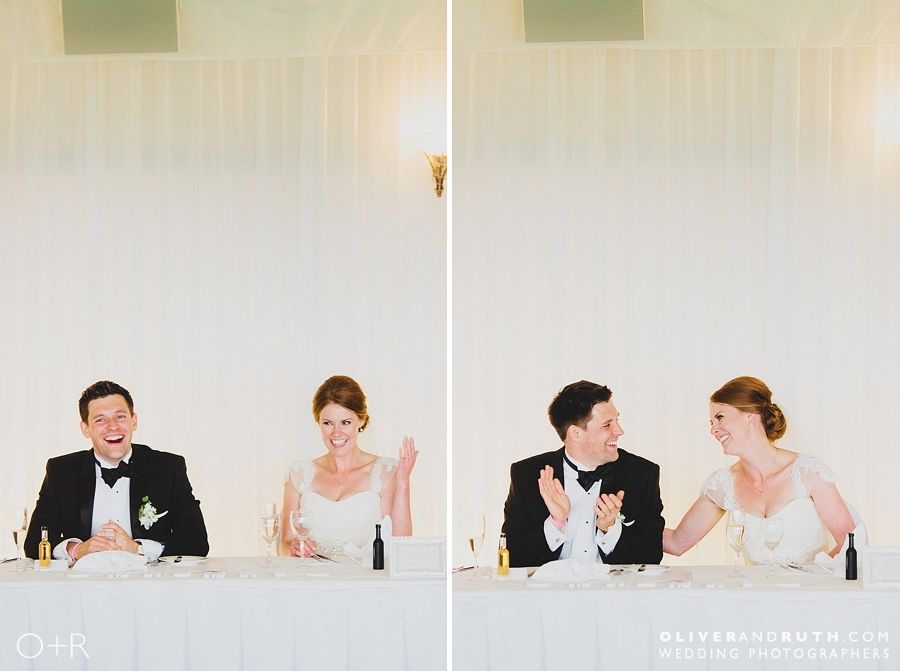 Bride and groom during speeches at the Celtic Manor clubhouse
