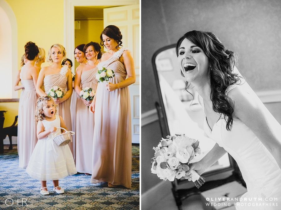 Flower girl and bridesmaids at Clearwell Castle