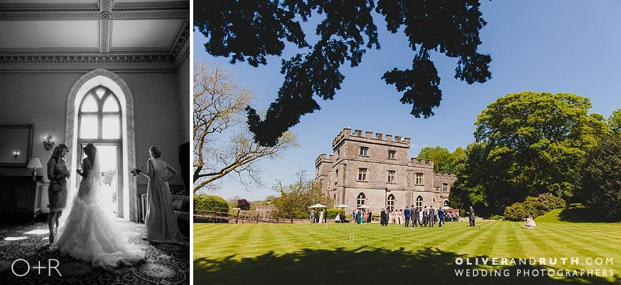 Wedding guests enjoying the sun at Clearwell Castle