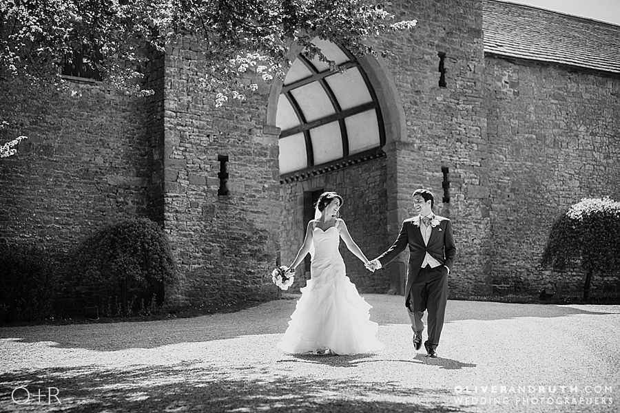 Bride and groom wedding portrait at Clearwell Castle