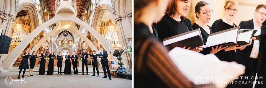 Choir sing for wedding at Llandaff Cathedral