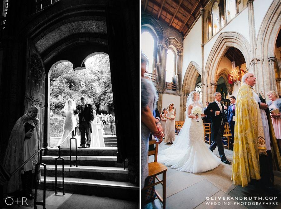 Bride enters Llandaff Cathedral for wedding