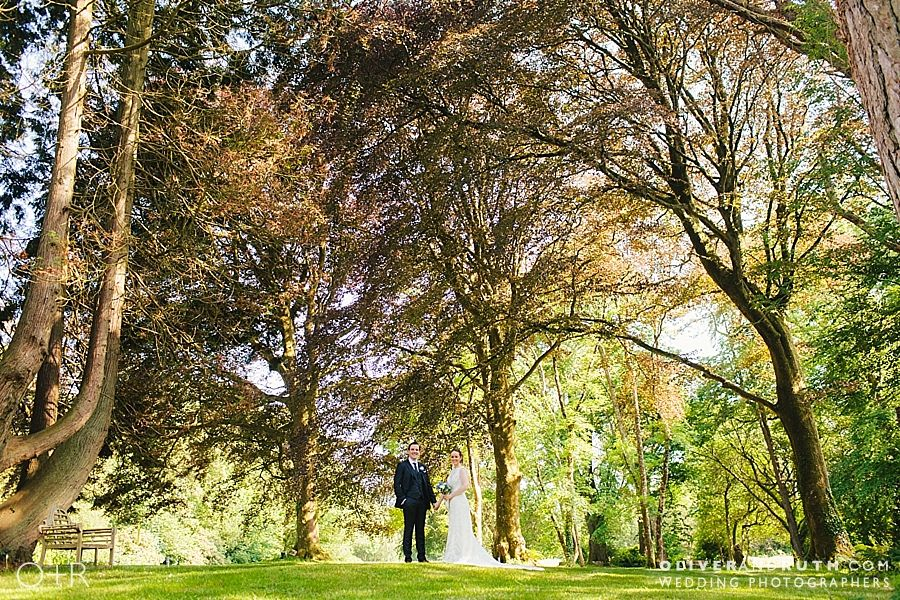 Bride and groom in gorgeous surroundings at Fairy Hill wedding