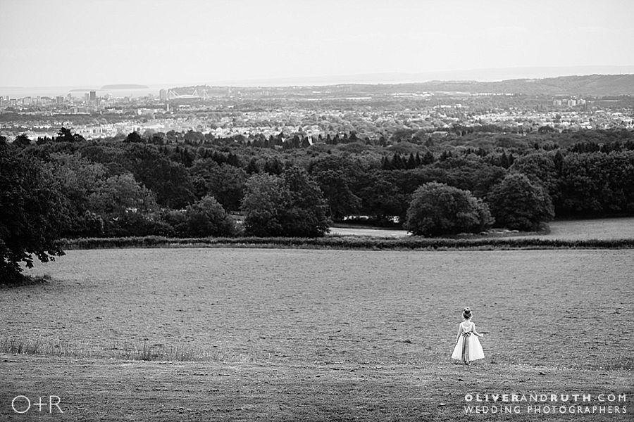 Bridesmaid enjoys the view at The New House Country Hotel, Cardiff