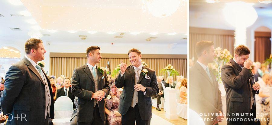 Groom waits at a Cwrt Bleddyn wedding