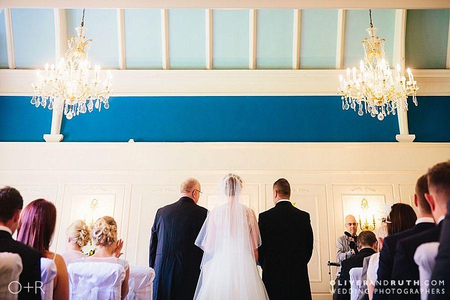 Rear view of Coed-Y-Mwstwr wedding ceremony