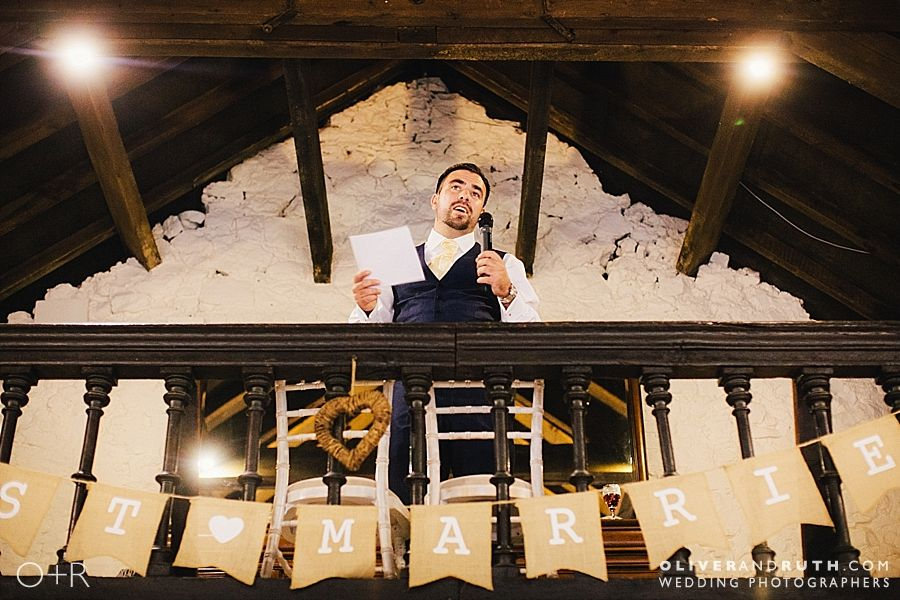 Best man's wedding speech from the balcony at Pencoed House