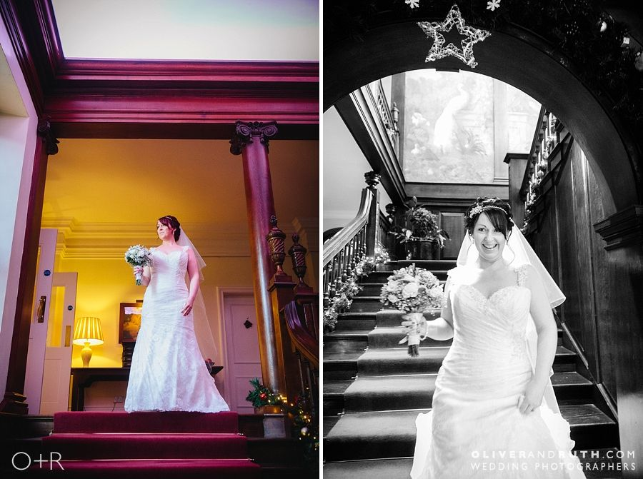 Bride on staircase at Llangoed Hall