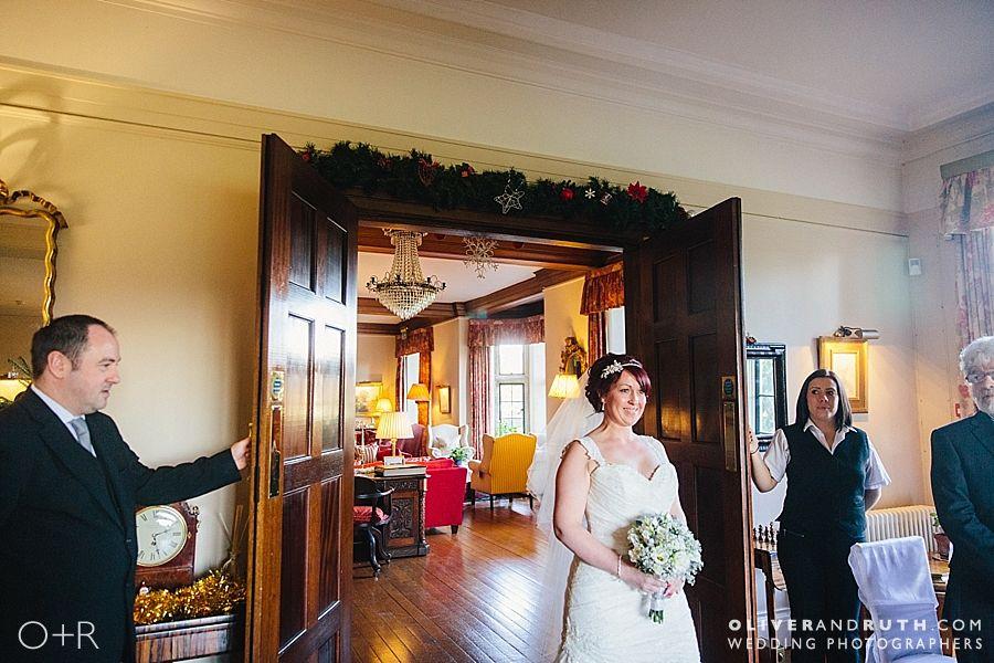 Bride's entrance into wedding ceremony at Llangoed Hall