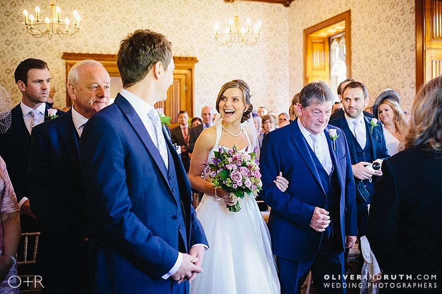 Bride sees groom for the first time at Hensol castle