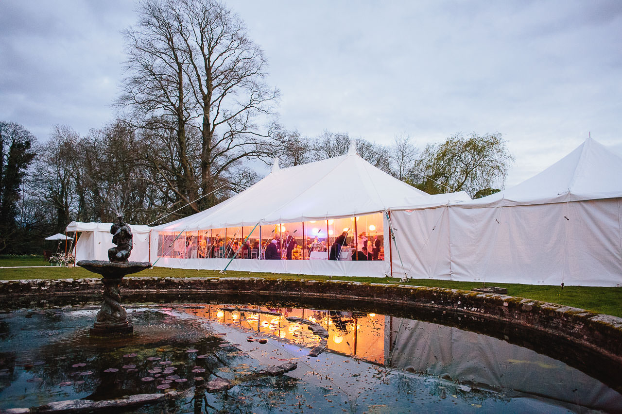 Wedding marquee reflection at Felin Newydd House
