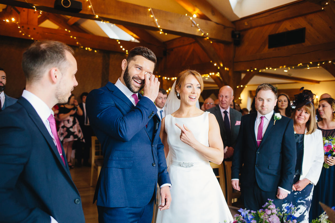 Groom's happy tears during the wedding ceremony at The King Arthur Hotel