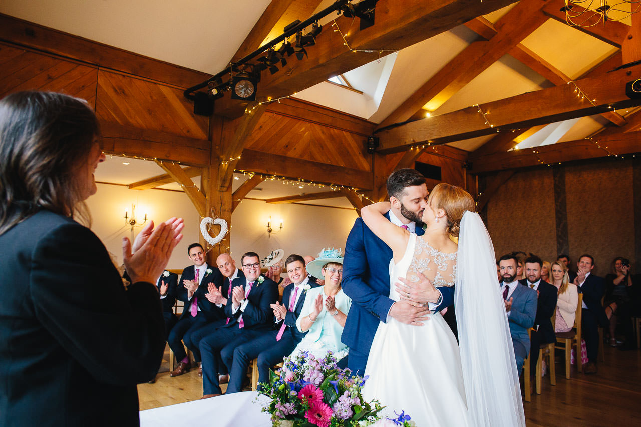 First kiss during the wedding ceremony at The King Arthur Hotel